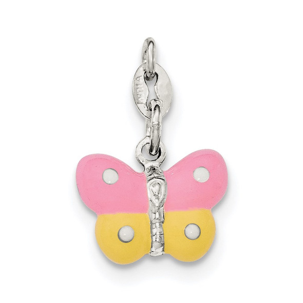 Sterling Silver Polished Enamel Butterfly Charm QC8563