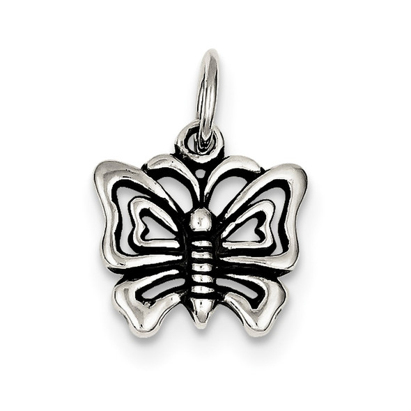 Sterling Silver Antiqued Butterfly Charm QC4983