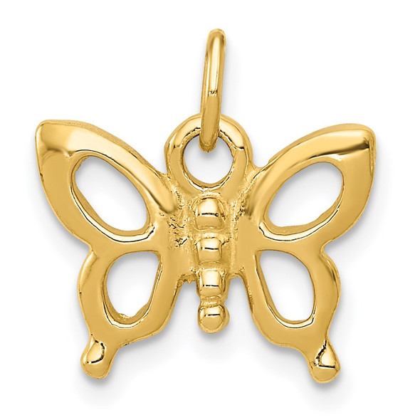 14k Yellow Gold Solid Polished Butterfly Charm
