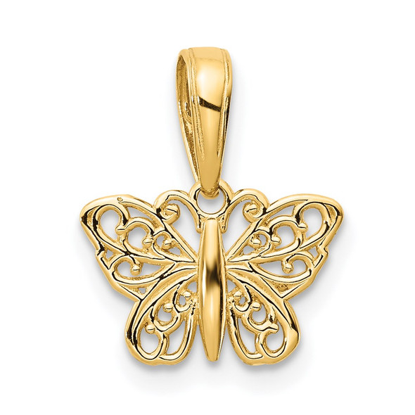 14k Yellow Gold Polished Filigree Butterfly Charm