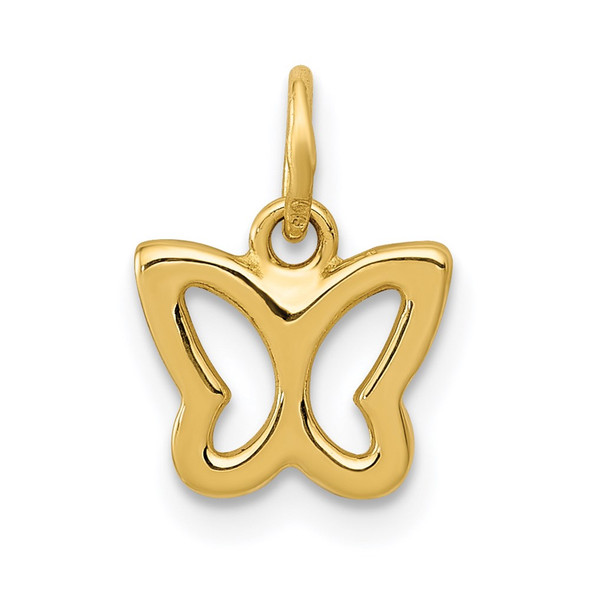14k Yellow Gold Polished Butterfly Charm YC1242