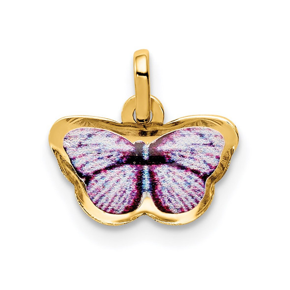 14k Yellow Gold Enamel Butterfly Charm