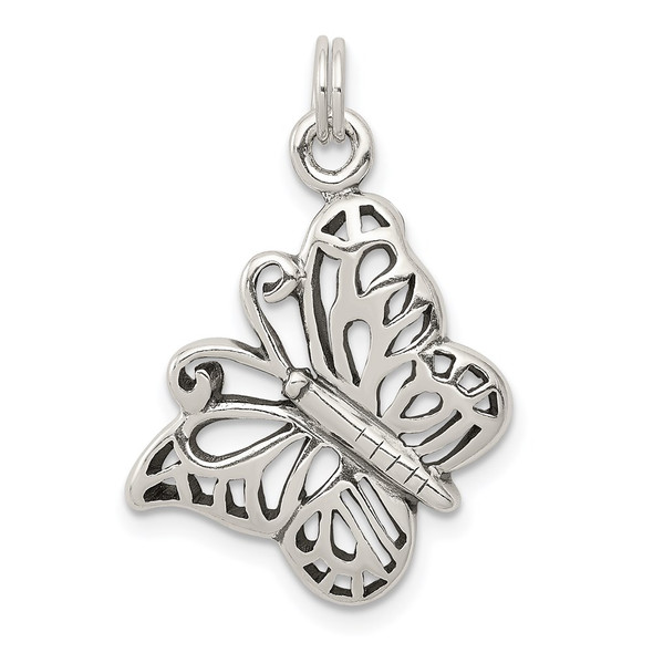 Sterling Silver Antiqued Butterfly Charm QC4997