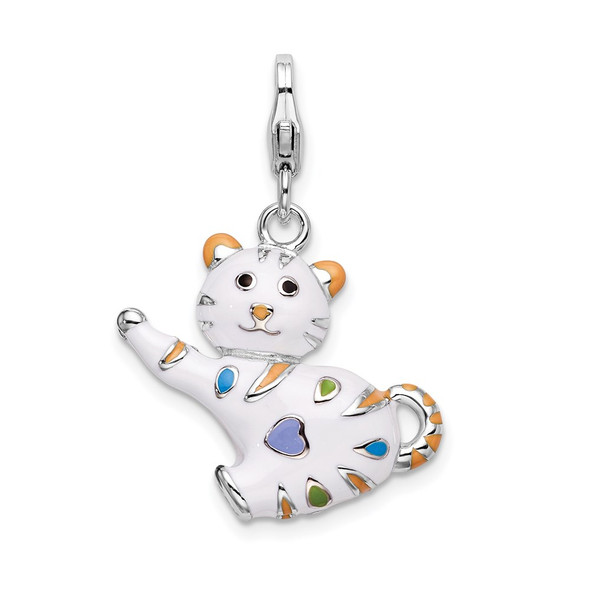 Sterling Silver and Enamel Cat w/ Lobster Clasp Charm