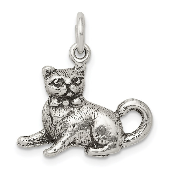 Sterling Silver Antiqued Cat Charm QC7834