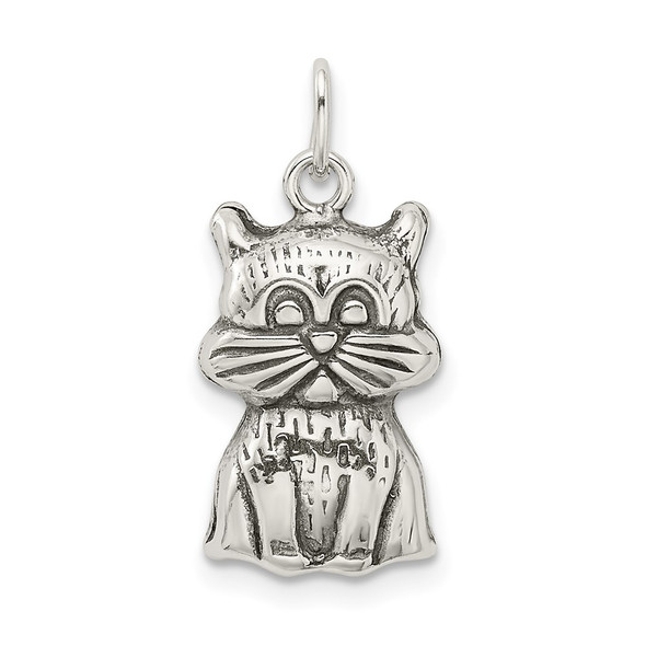 Sterling Silver Antiqued Cat Charm QC9310