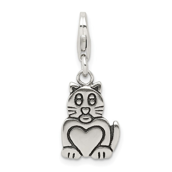 Sterling Silver Antiqued Cat Charm QC7159