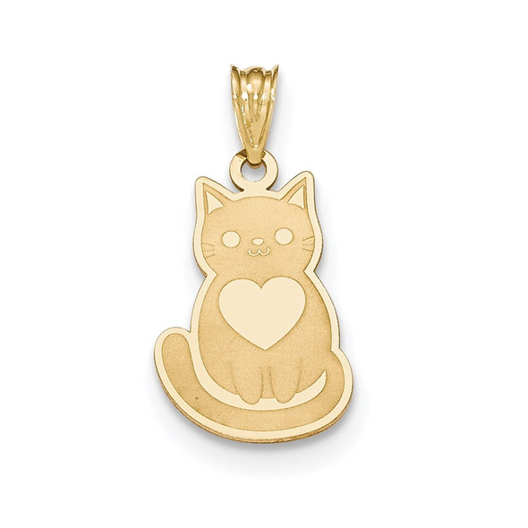 14k Yellow Gold Laser Cut Cat with Heart Charm