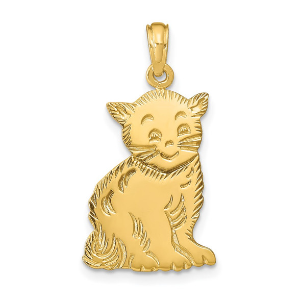 14k Yellow Gold Polished Cat Charm