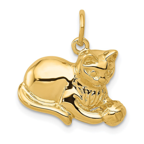 14k Yellow Gold Cat Charm A9166