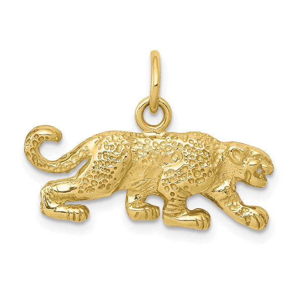 10k Yellow Gold Solid Satin Small Leopard Charm