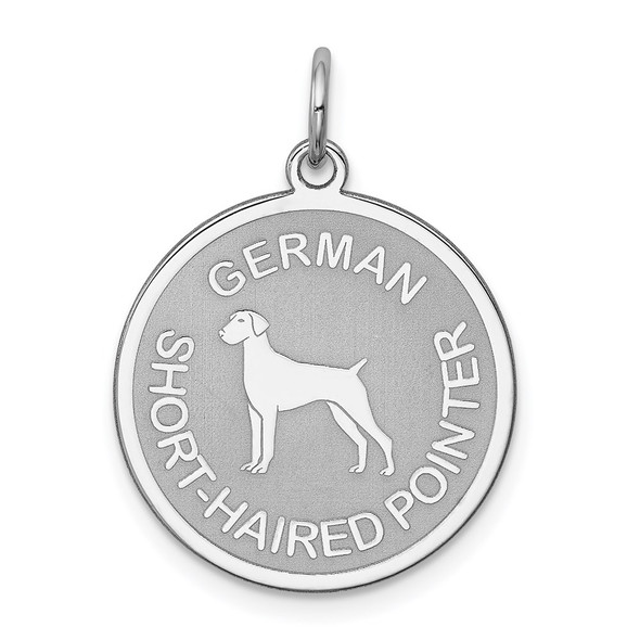 Sterling Silver Rhodium-plated German Shorthaired Pointer Disc Charm