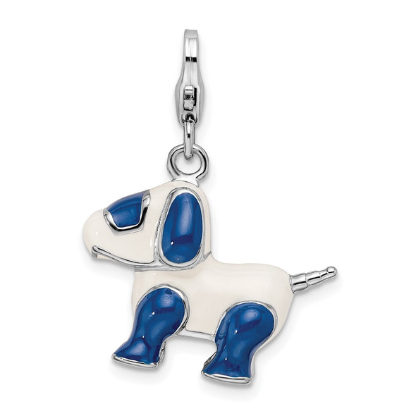 Sterling Silver Rhodium-Plated Enameled 3-D Robot Dog w/Lobster Clasp Charm