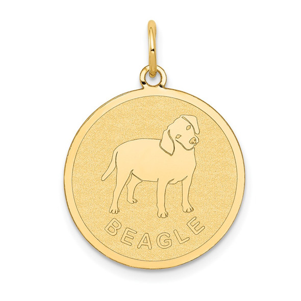 14k Yellow Gold Beagle Disc Charm