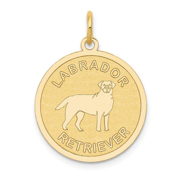 14k Yellow Gold Labrador Retriever Disc Charm