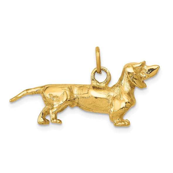 14k Yellow Gold 3D Dachshund Dog Charm