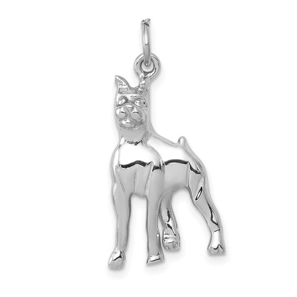 14K White Gold Solid Polished Boxer Charm
