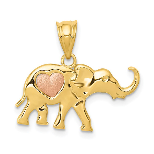 14k Yellow and Rose Gold Elephant w/ Heart Charm