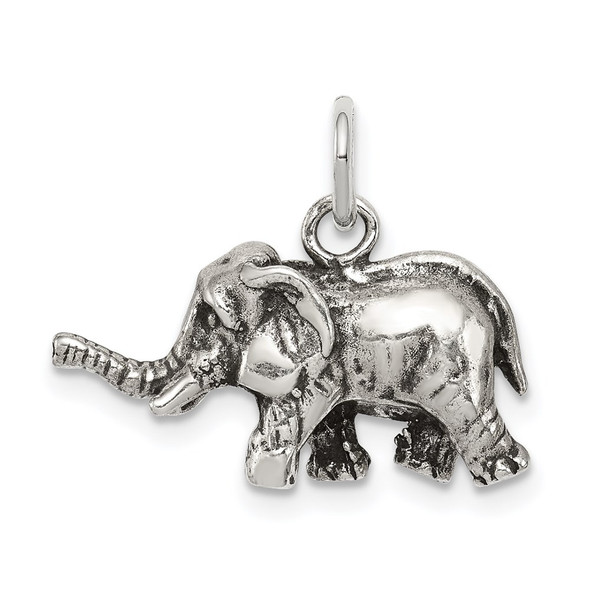Sterling Silver Antiqued Elephant Charm QC7876