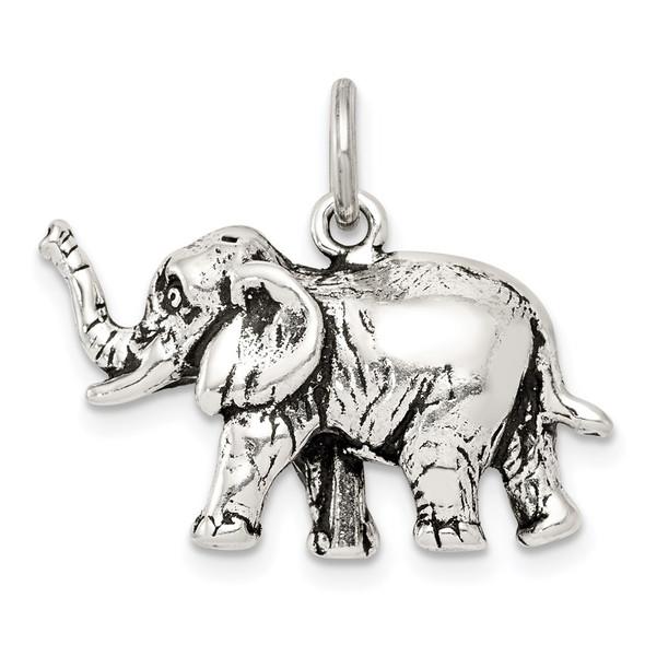 Sterling Silver Antiqued Elephant Charm QC7877
