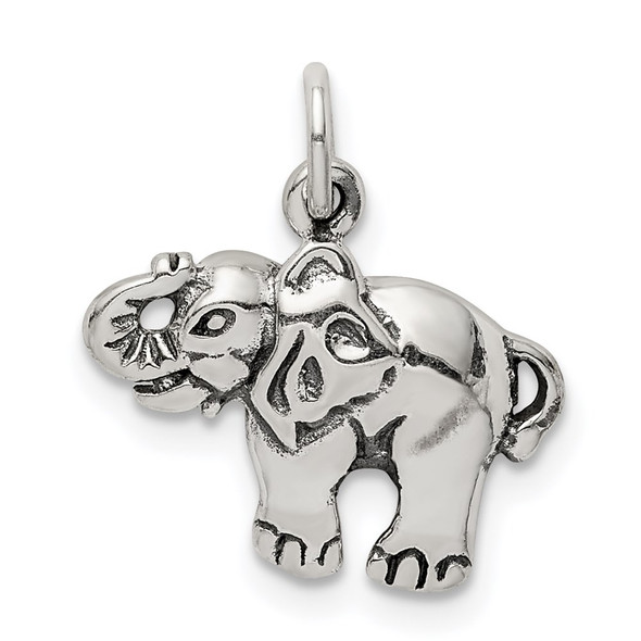 Sterling Silver Antiqued Elephant Charm