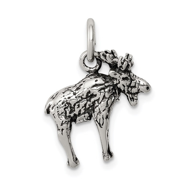 Sterling Silver Antiqued Moose Charm QC7844