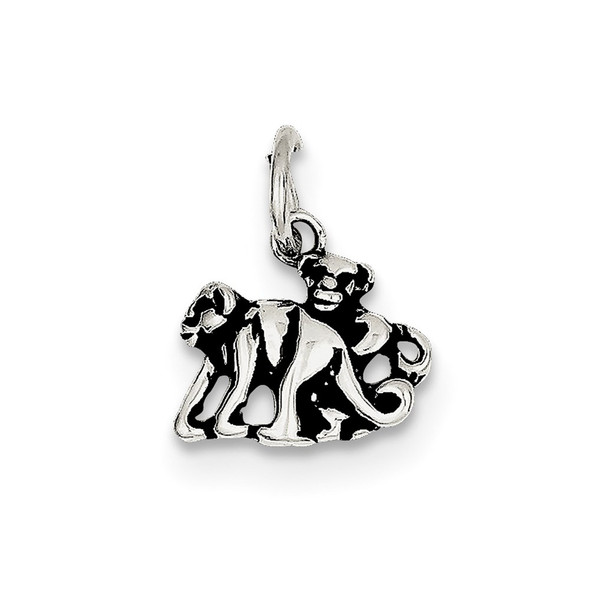 Sterling Silver Antiqued Monkey Charm QC7873