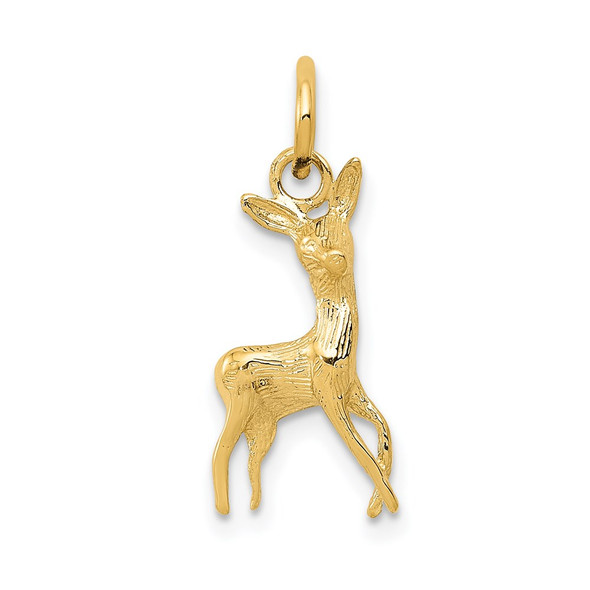 14k Yellow Gold Polished Open-Backed Deer Charm