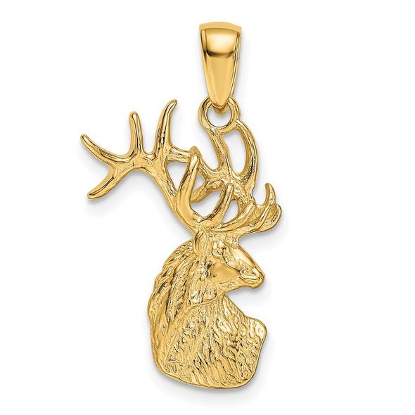 14k Yellow Gold Polished Deer Head Charm