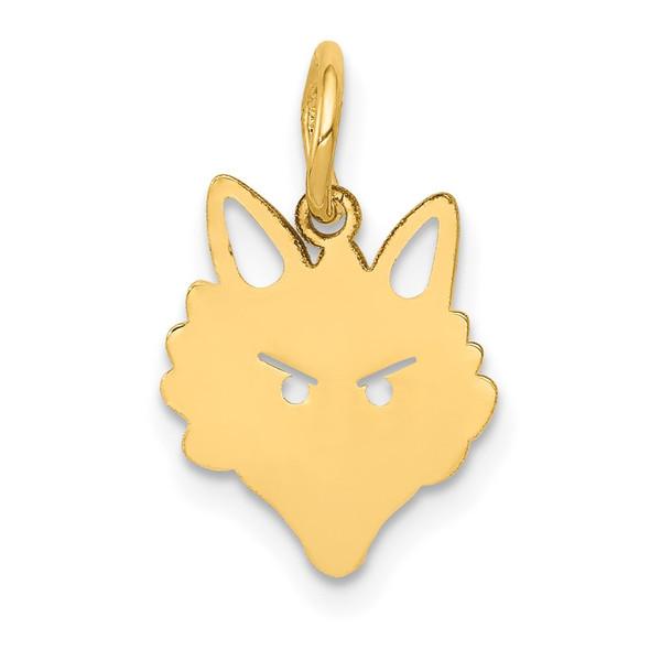 14k Yellow Gold Fox Head Charm