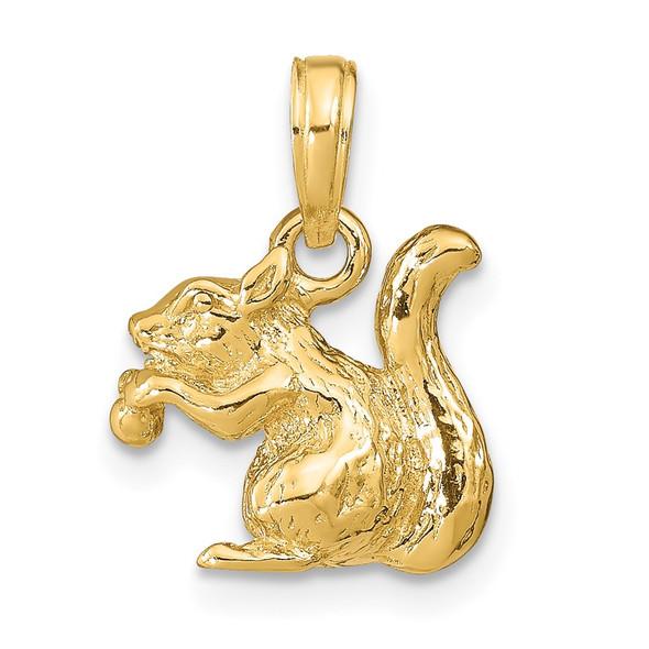 14k Yellow Gold Solid 3-Dimensional Squirrel w/Nut Charm