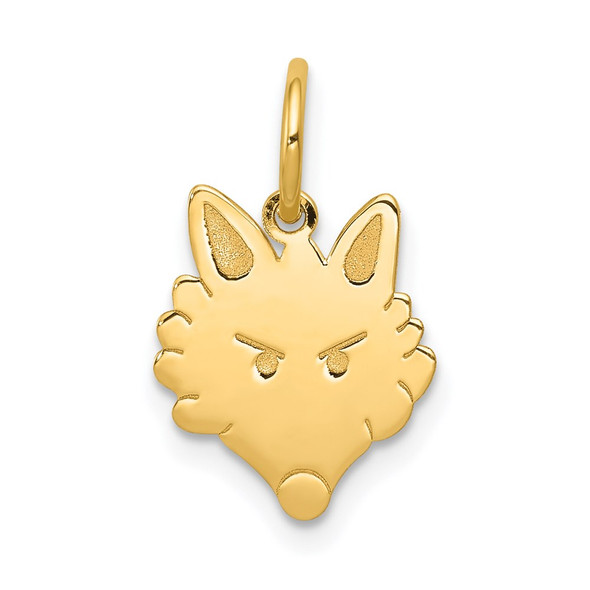 14k Yellow Gold Polished Fox Head Charm