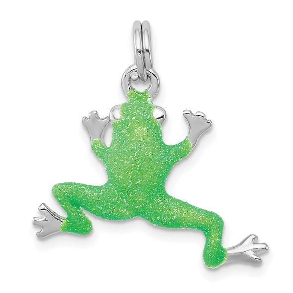 Sterling Silver Rhodium-plated Green Enamel Frog Charm QC6255