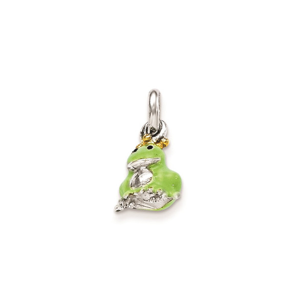 Sterling Silver Green Frog Childrens Gold-Plated/Enameled Charm
