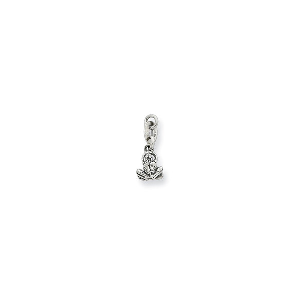 Sterling Silver Antiqued Frog Charm QC6949