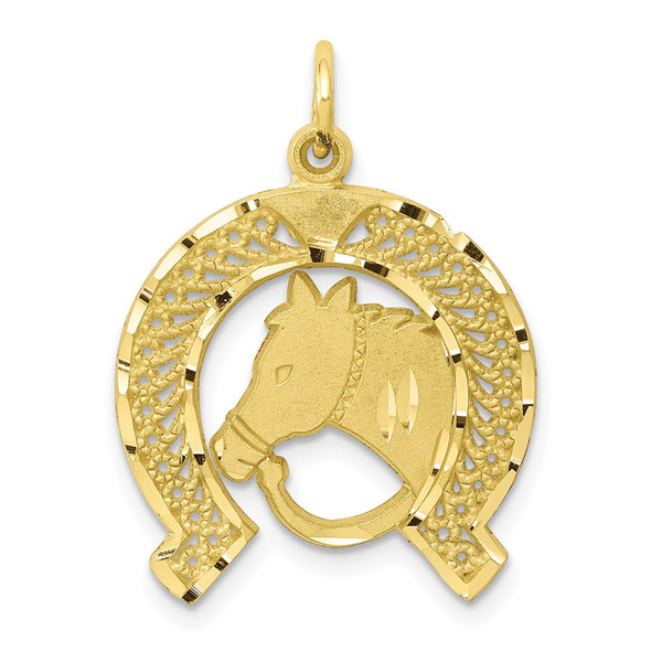 10k Yellow Gold Solid Flat-Backed Horsehead In Horseshoe Charm