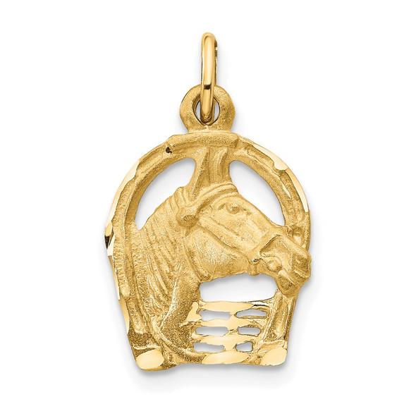 14K Yellow Gold Diamond-cut Horse Head In Horseshoe Charm