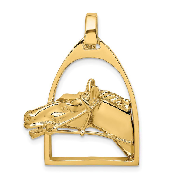14k Yellow Gold Polished Horse Head in Stirrup Charm