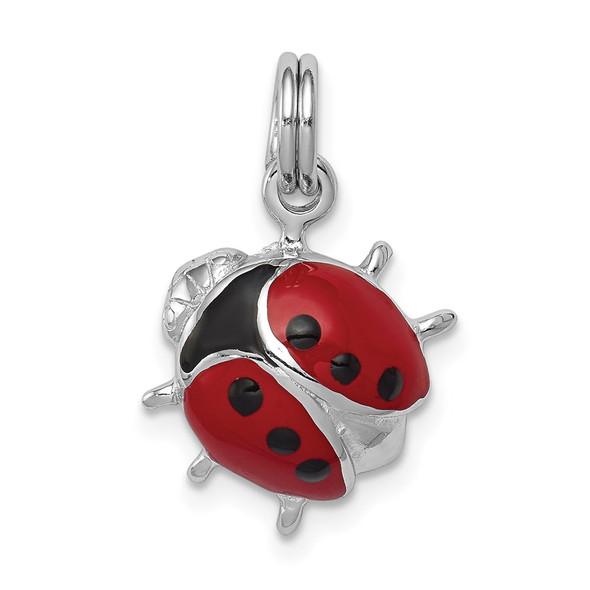 Sterling Silver Rhodium-plated Enamel Ladybug Charm