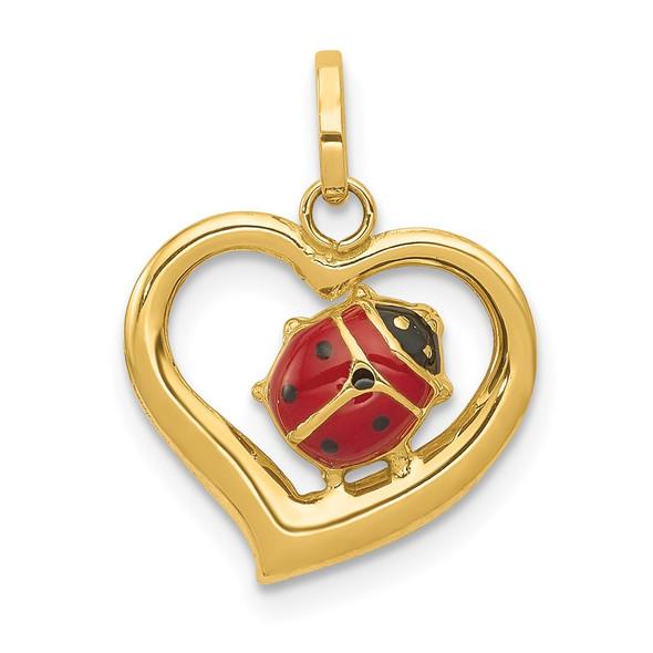 14k Yellow Gold Enameled Ladybug In Heart Charm