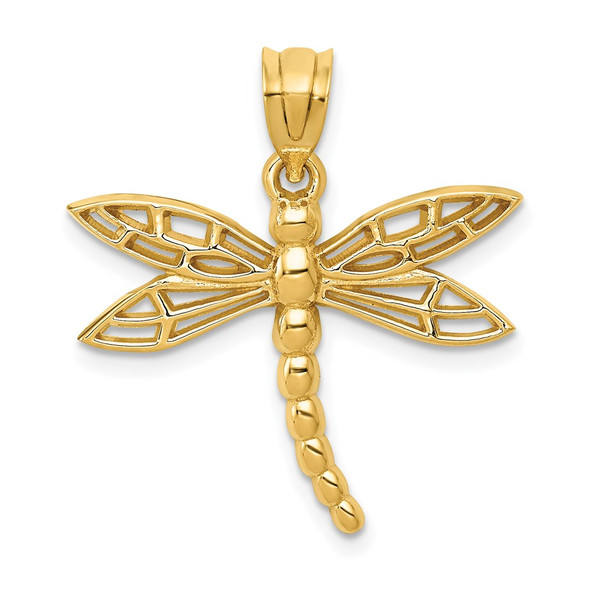 14k Yellow Gold Dragonfly Charm