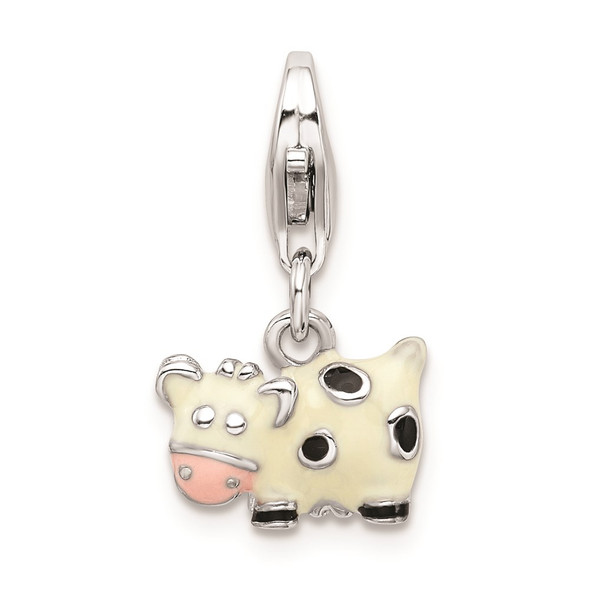Rhodium-Plated Sterling Silver Enameled Cow w/Lobster Clasp Charm