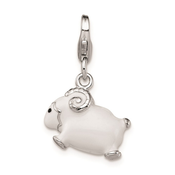 Sterling Silver Enameled 3D Ram w/Lobster Clasp Charm