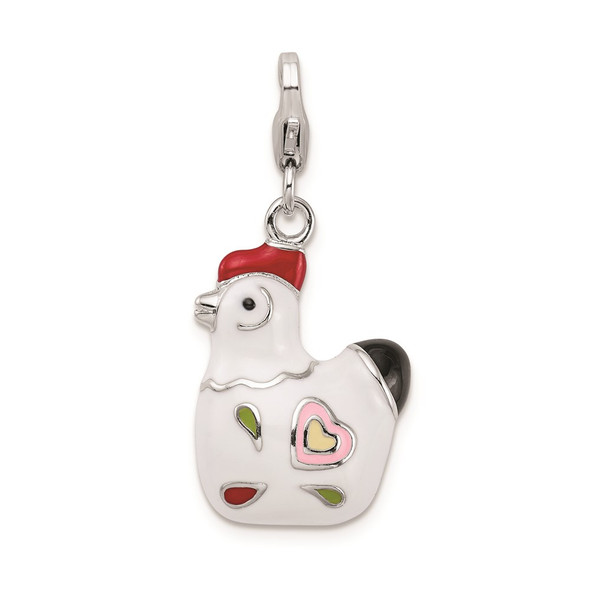 Sterling Silver and Enamel Rooster w/ Lobster Clasp Charm