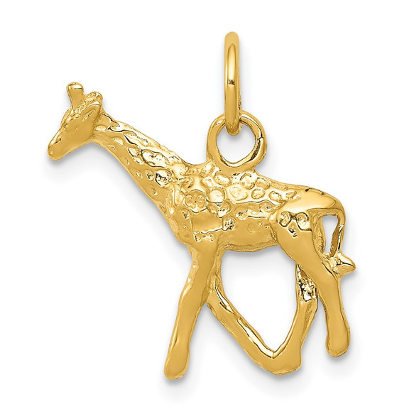 14k Yellow Gold Solid Polished 3-D Giraffe Charm