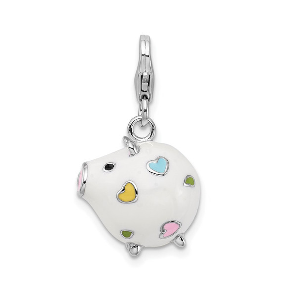 Sterling Silver Enamel Round Piggy w/Lobster Clasp Charm