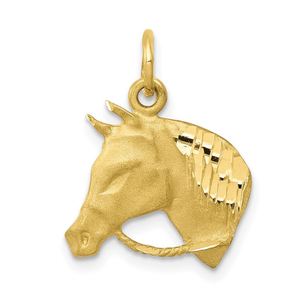 10k Yellow Gold Solid Satin Horsehead w/Reins Charm