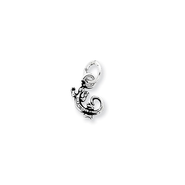 Sterling Silver Antiqued Gecko Charm