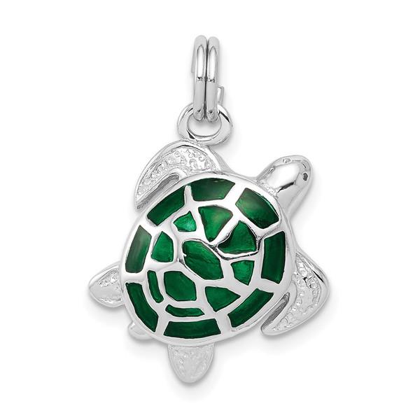 Sterling Silver Rhodium-plated Green Enamel Turtle Charm