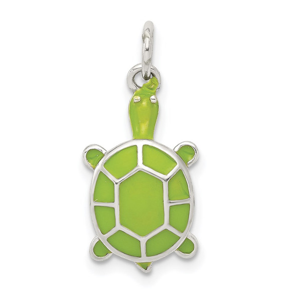 Sterling Silver Rhodium-plated Green Enameled Turtle Charm QC6300